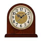 Reloj de Manto Números arábigos Reloj de Escritorio con Esfera Reloj de Chimenea silencioso Reloj de Madera Retro con Pilas Relojes de Escritorio Europeos (Color: Marrón)