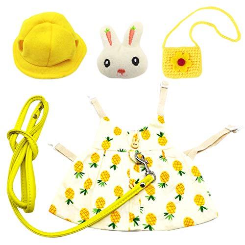 perfk Conjunto de Vestido para Mascotas de Animales Pequeños, de Chinchillas de Conejo, Chaleco, Ropa Estampada para Fiesta de Otoño, Todos Los Días - Pineapple_S