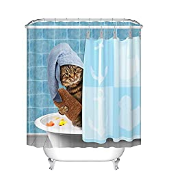 A Funny Cat On Shower Curtain