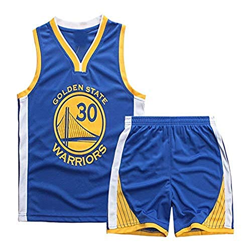 Maillots de Baloncesto para Niños- Conjunto Curry#30 Camiseta de Baloncesto Chaleco & Pantalones Cortos de Verano para Chicos y Chicas (Azul #30, l)