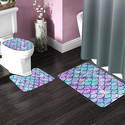 Beautiful Mermaid Fish Scales Turquoise Bathroom Rugs Mats Set 3 Pieces Bath Rugs for Bathroom Washable U-Shaped Contour Rug Mat and Toilet Lid Cover Set