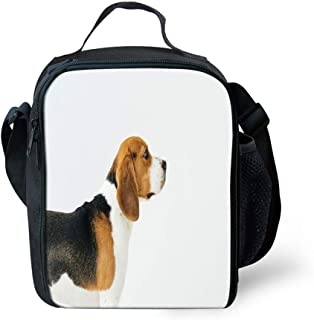 Lunch Box Insulated Lunch Bag Tough & Spacious Lunchbox, Dog Lover Adorable Puppy Profile Angle Happy Pet Life Studio Photography,Lunch Bags for Men,Adults,Kids,Women