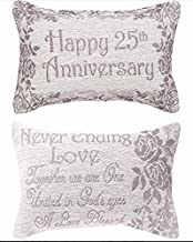 Manual Woodworker Pillow- Happy 25th Anniversary - Gold (12. 5 X 8. 5)