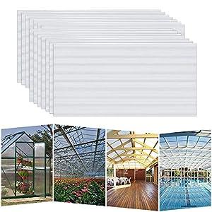 Hengmei - 14 planchas alveolares de cámaras huecas de policarbonato, 4 mm, 10,25 m2, placas de doble puente resistentes a los rayos UV, para invernadero, jardín