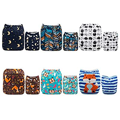 ALVABABY Baby Cloth Diapers One Size Adjustable Washable Reusable for Baby Girls and Boys 6 Pack with 12 Inserts 6DM07