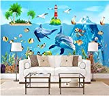 papel pintado pared 3d Tipo Fleece no-trenzado papel de pared moderno fotomurales de runa decorativos murales pared 250x175cm algas mundo submarino delfín