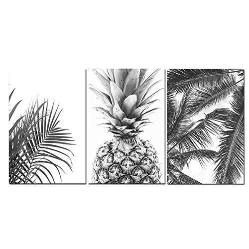 ZYHFBHFBH Leinwand Malerei Nordic Tropical Prints Palme Blätter Wandkunst Ananas Poster Schwarz Weiß Bild für Wohnzimmer 60x80 cm (23,6