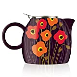 Tea Forte PUGG 24oz Ceramic Teapot with Improved Stainless Tea Infuser, Loose Leaf Tea Steeping For Two, Poppy Fields by Tea Forte