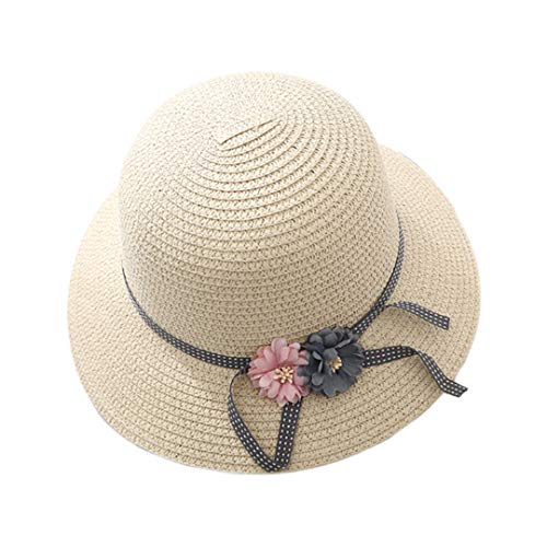 Multifit Foldable Parent-Child Straw Hat Floppy Summer Beach Sunhat Packable Bucket Hat Cap for Women Girls(Child-Beige1)