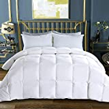 WhatsBedding 100% Cotton Cover White Goose Duck Down and Feather Comforter Down Duvet Insert or Stand-Alone Comforter (White-Heavy, Twin)