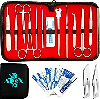 22 Pcs Apex Advanced Stainless Steel - (NO Plastic Handles)-Premium Dissection kit for Education, Learning and Teaching Lab for Medical, Surgical, Biology, Anatomy, Physiology and Veterinary Class