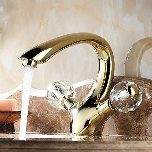 manija de cristal de oro baño de latón grifo del lavabo del agua del inodoro del grifo grifo del fregadero cuenca caliente y fría Mixer Tap BL6046G, Brass