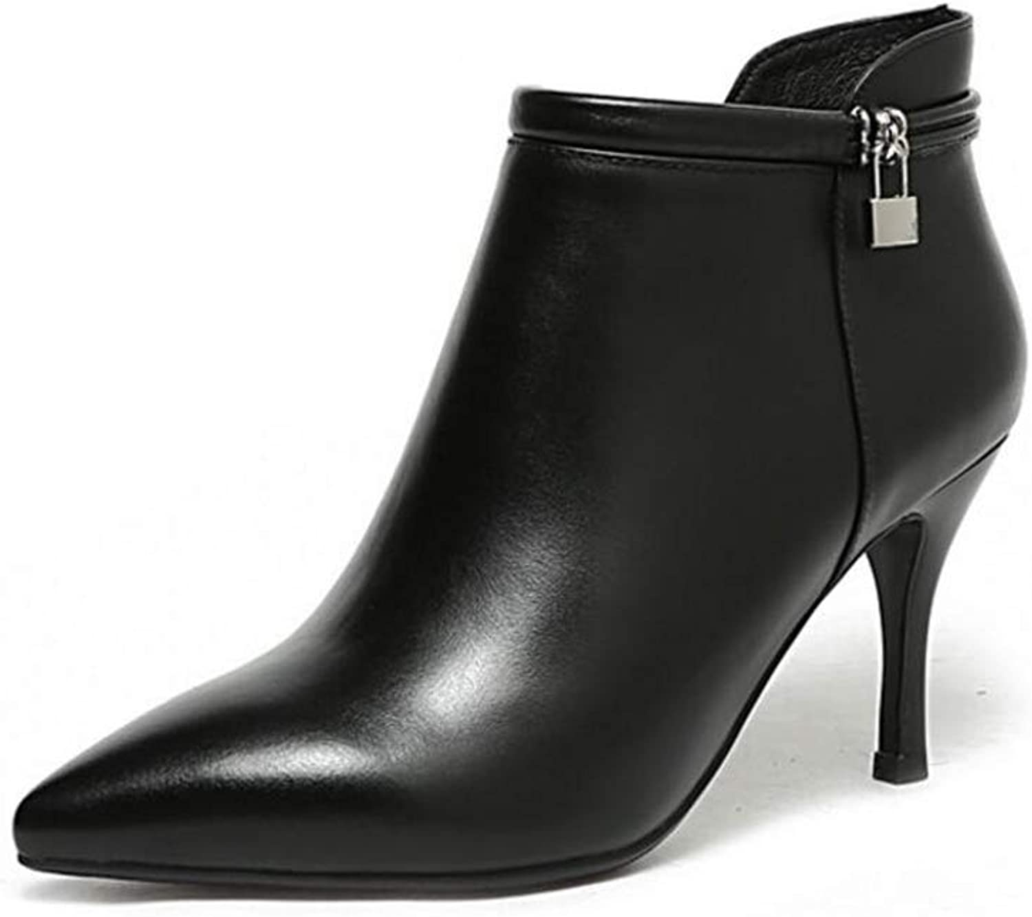 Ladies Ankle Boots, Autumn and Winter New Leather Sexy Red Bare Boots Pointed Knight Boots Stiletto Boots High Heel Women's Boots (color   Black, Size   40)
