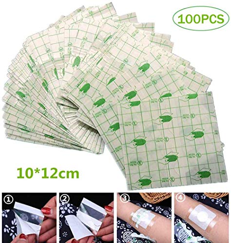 ASEDRF 100Pcs Wasserdichtes Pflaster Transparent Klebstoff Medizinischer Wundverband Klebeband Fixer Gips Stretch Fixation Tape Anti-Allergie Selbst Paste (10 * 12Cm)