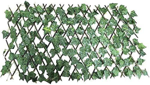 LLPERCOM Celosía seto con Hojas, Barrera Plegable de Mimbre para el jardín, Medidas de 194 cm x 40 a 72 cm x 64cm, Material de Primera Calidad. Valla.