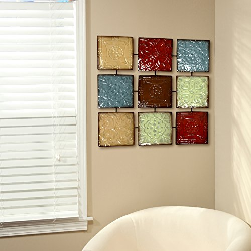 Hosley 24.75 Inch Square Multi Colored Metal Wall Decor Plaque. Abstract. Ideal Gift for Home Weddings Party Home Office P9