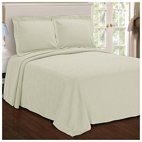 Superior Paisley Jacquard Matelassé 100% Premium Cotton Bedspread with Matching Shams, King, Ivory
