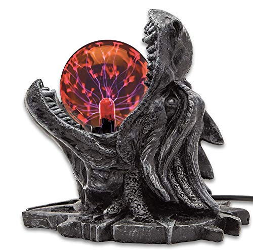 """K EXCLUSIVE Storm Dragon Plasma Ball - Plasma Sphere, Touch Sensitive, High-Strength Glass Construction, Sculpted Resin Base - Dimensions 6""""x 6""""x 7 1/2"""""""
