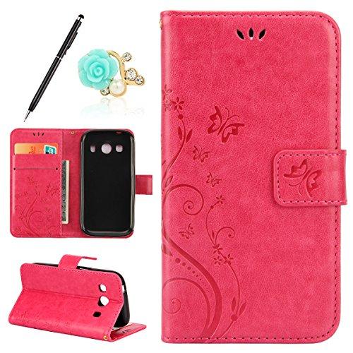 Uposao Kompatibel mit Samsung Galaxy Ace 4 G357 Leder Tasche Leder Handyhülle Hülle Schmetterling Muster Lederhülle Flip Schutzhülle Handytasche im Bookstyle Ständer Kartenfach,Rose Rot