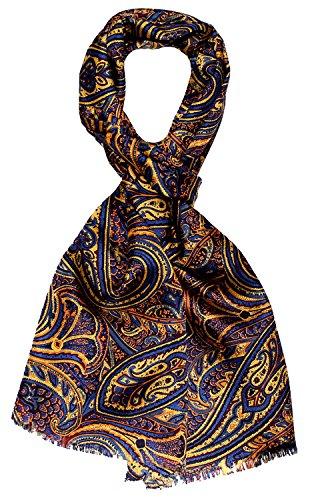 Lorenzo Cana Luxus Herren Schal 100% Seide in harmonischen Farben bedruckt doppellagig Seidenschal Seidentuch Tuch Dandy Style 30 cm x 160 cm - 8913911