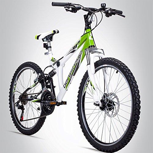 Bergsteiger Montreal 24 Zoll Kinderfahrrad, geeignet für 8, 9, 10, 11 Jahre, Shimano 18 Gang-Schaltung, Mountainbike mit Vollfederung, Jungen-Fahrrad, Mädchen-Fahrrad