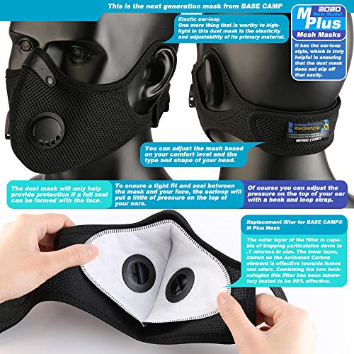 BASE CAMP M Plus Dust Face Mask with 6 Activated Carbon Filters Twin Pack