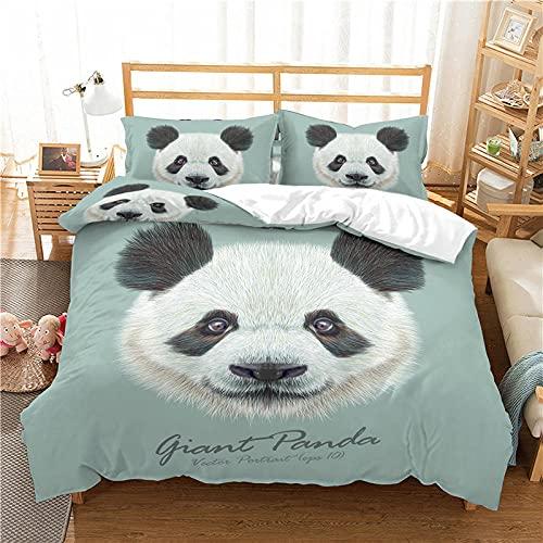 LucaSng Blanco Funda Nordica 3D Impresión Ropa De Cama De - King 220x260 CM - Panda Animal Creativo - Funda de Edredón 3 Ropa de Cama Suave Familia Niño Niña Moderno Estilo Colcha Cama
