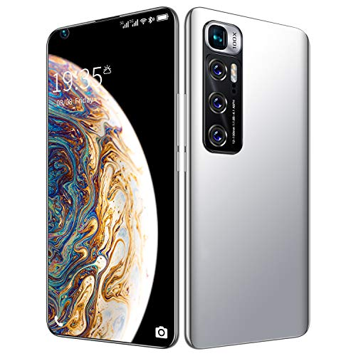 FJYDM Teléfono Inteligente Desbloqueado, Teléfono Celular De 128GB con Expansión Android 10, Pantalla De 7.2 Pulgadas, Cámara De 21MP + 42MP, Batería De 5600Mah 5G Teléfono Desbloqueado,Blanco