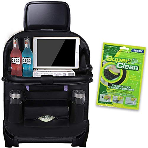 1 pack Backseat Car Organizers with Trays, Back Seat Organizer & Storage with tray, t Travel Protector for Kids Feet, Roadtrip Table, Car Kick Mat, Car Accessories Interior for Men and Women