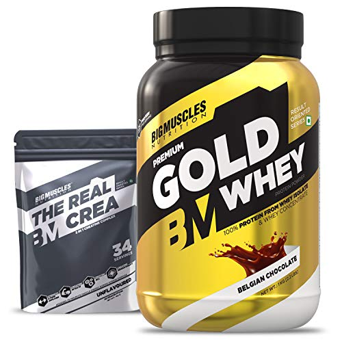 Bigmuscles Nutrition Premium Gold Whey 1Kg [Belgian Chocolate] with Free Real Crea 34 Servings |Whey Protein Isolate & Whey Protein Concentrate, 25g Protein Per Serving, 0g Sugar, 5.5g BCAA