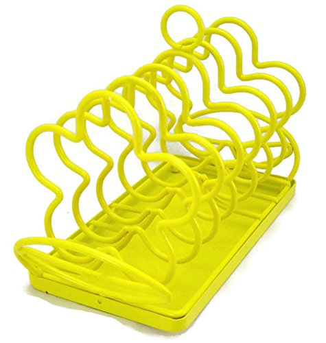 Yellow Flower Toast Caddy Rack with Crumb Tray
