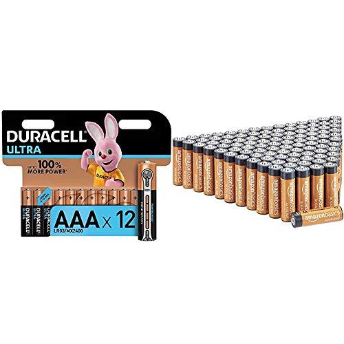 Duracell LR03 MN2400 Ultra AAA con Powercheck - Batterie Ministilo Alcaline & Amazon Basics Batterie alcaline AA 1.5 Volt, Performance, confezione da 100 (l'aspetto potrebbe variare dall'immagine)