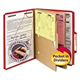"""Smead - Pressboard Folders Two Pocket Dividers Letter Six-Section Bright Red 10/Box """"Product Category: File Folders Portable & Storage Box Files/Folders"""""""