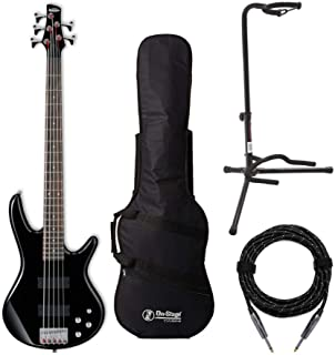$269 » Ibanez GSR205 GIO 5-String Electric Bass Guitar (Black) Bundle with Bass Guitar Bag, Knox Gear 20 ft Balanced Professional Series Guitar Cable, and On Stage XCG4 Tripod Guitar Stand (Black) (4 Items)