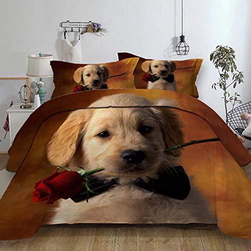 PANZET Copripiumino Matrimoniale, 3D Gatto e Cane 3 Pezzi Set, 1 x Copripiumino 200x200cm e 2 x Federe 48x74cm, 100% Poliestere,Dog3,220×240cm