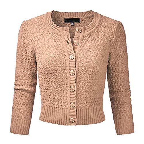 Wosgwz8 Weibliche Strickjacke Pullover Mantel Kurze Frauen EIN Wenig Schal Strickjacke Weiblich 22 Farben Bräunen S