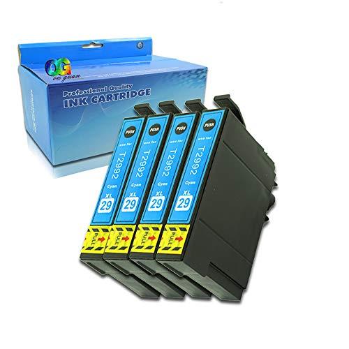 Ouguan - Pack de 4 Cartuchos Cian compatibles con Epson 29XL 29 para Epson Expression Home XP-255 XP-257 XP-352 XP-355 XP-452 XP-455 XP-235 XP-332 XP-335 XP-432 XP-435