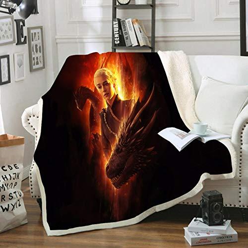 HGKY Manta y plaids Juego de Tronos, manta de viaje, portátil, de franela, sherpa, para sofá, camping, viajes, oficina, cama, dormitorio (G, 100 x 140 cm)