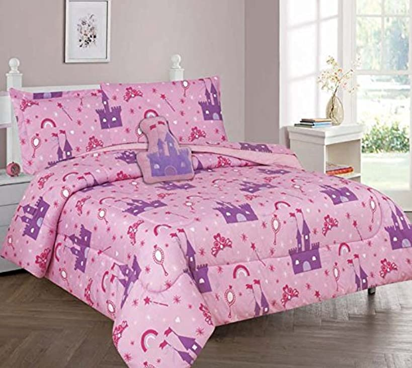 Elegant Home Multicolor Pink Purple Princess Palace Castle Design 6 Piece Comforter Bedding Set for Girls / Kids Bed In a Bag With Sheet Set & Decorative TOY Pillow # Princess Palace 2 (Twin Size)