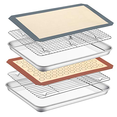 Baking Sheet with Rack Set & Silicone Mat, Set of 6[2 Sheets+2 Racks+2 Mats],Size 16x12x1 Inch, Estmoon Stainless Steel Cookie Sheet Baking Pan Tray with Cooling Rack Non Toxic &Heavy Duty ,Oven Safe