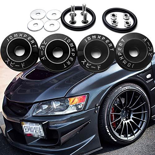 4x JDM Black Car Bumpers Trunk Fender Hatch Lids Quick Release Fasteners