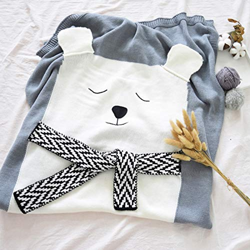 iFCOW Manta de bebé de dibujos animados para hacer punto aire acondicionado manta para niños dormir jugando Mat (gris)