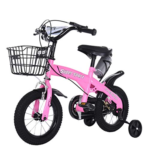 Kids' Bicycles with Training Wheels, 12 Inch Freestyle Bicycles Balance Bike for Boys Girls, Child's Bikes with Kettle- Best Gift for Child Age 2+ Pink (Shipping from USA, Pink)