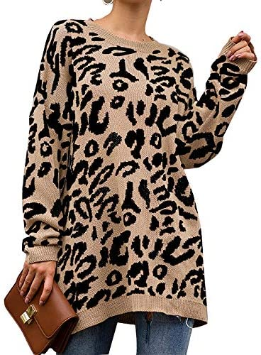 PRETTYGARDEN Women s Casual Leopard Print Long Sleeve Crew Neck Knitted Oversized Pullover Sweaters product image