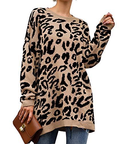 PRETTYGARDEN Women's Casual Leopard Print Long Sleeve Crew Neck Knitted Oversized Pullover Sweaters Tops (Khaki, Medium)