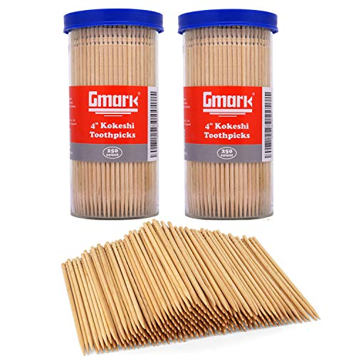 Gmark Premium 4quot Kokeshi Toothpicks Skewers 500ct 2 Packs of 250 Extra long toothpicks for appetizers GM1034
