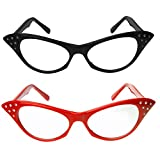 Cat Eye Glasses with Rhinestones - 50's 60's Retro Glasses (2 Pack) (Red & Black Cat Eye Glasses)