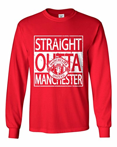 Tcamp 'Straight Outta Manchester Manchester Soccer Fans Youth Long Sleeve T-Shirt Red