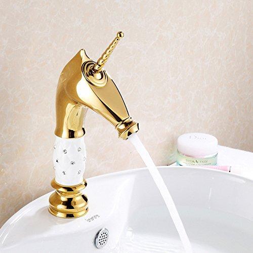 NGRJG Grifo de Cocina Grifo de cobre de agua fría y caliente grifo de cabeza de caballo grifo de lavabo caliente y frío de titanio blanco personalidad Grifos de lavabo, Fontanería de baño.