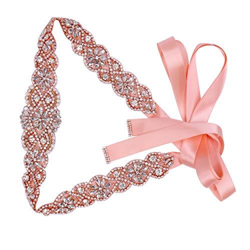 Tendaisy Women's Clear Crystal Rhinestone Sash Wedding Belt for Bridal Gowns(Rose-Blush)